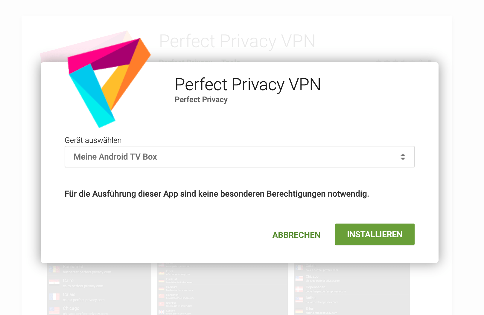 Perfect Privacy VPN App auf der Android TV Box installieren | Perfect Privacy VPN auf einer Android TV Box (IPsec/IKEv2)