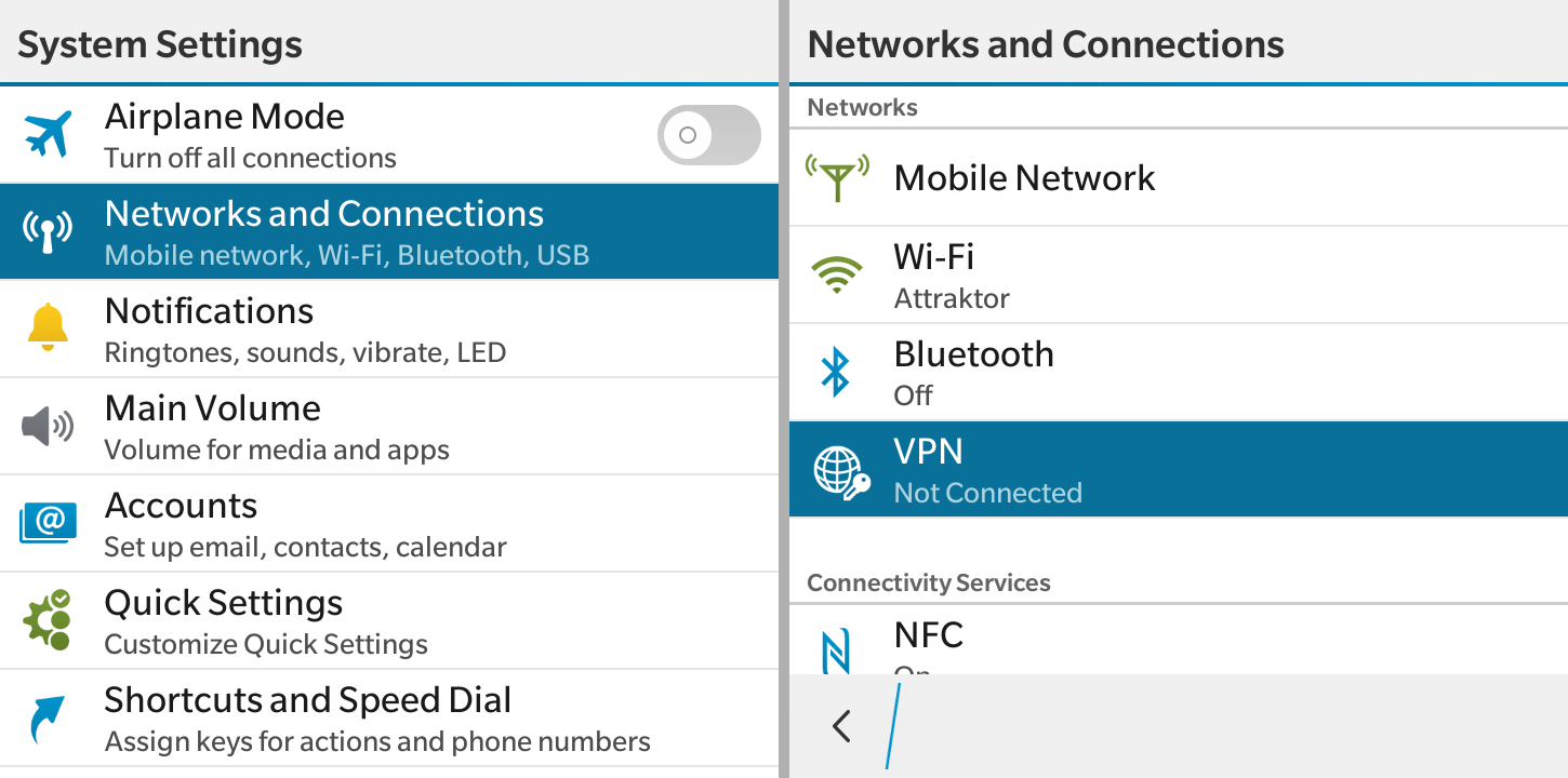 Add VPN Profile | VPN on BlackBerry OS