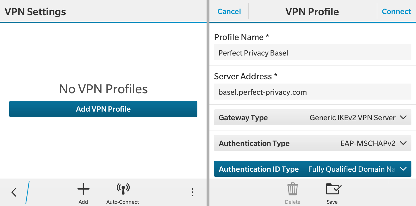 Configure a VPN connection | VPN on BlackBerry OS