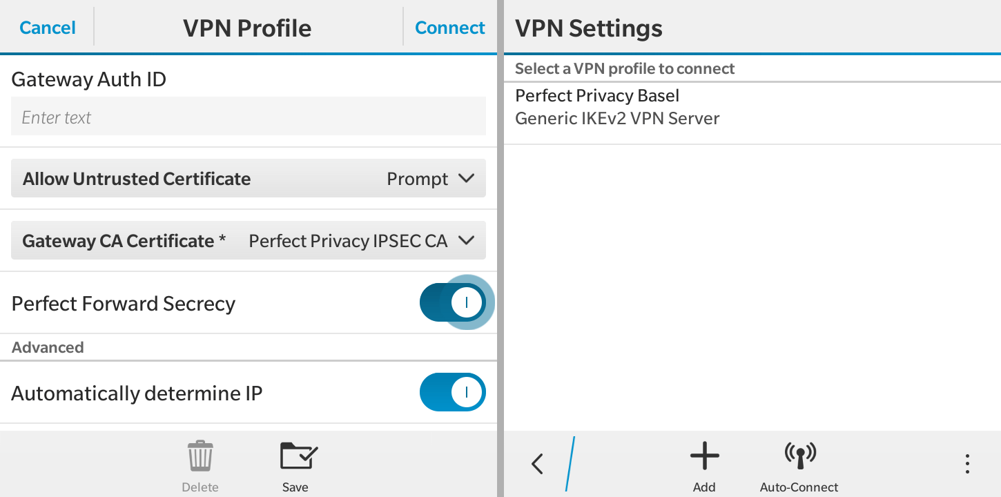 Save the VPN profile | VPN on BlackBerry OS