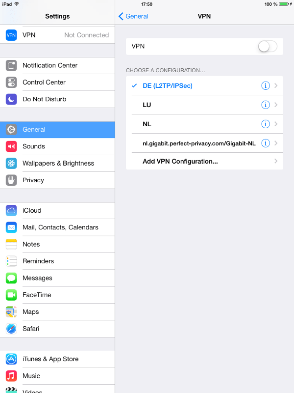 iPad, Settings > General > VPN: choose Add VPN Configuration | PPTP on iPhone & iPad (iOS)