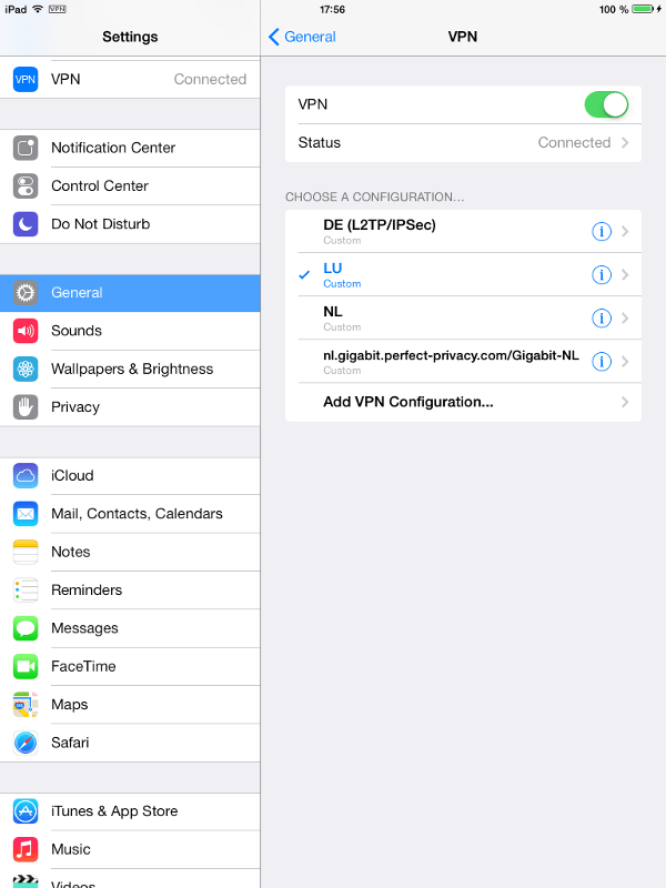 iPad, Settings > General > VPN: Multiple VPN profiles available | PPTP on iPhone & iPad (iOS)
