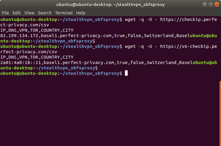 Test result of CheckIP CSV formatted: Connected to Basel1 | Stealth VPN on Linux (OpenVPN & obfsproxy)