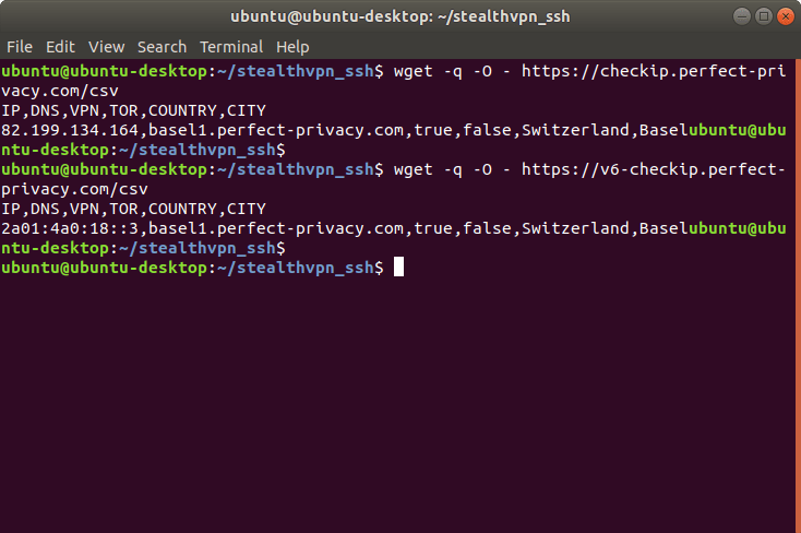 Test result of CheckIP CSV formatted: Connected to Basel1 | Stealth VPN on Linux (OpenVPN & SSH)