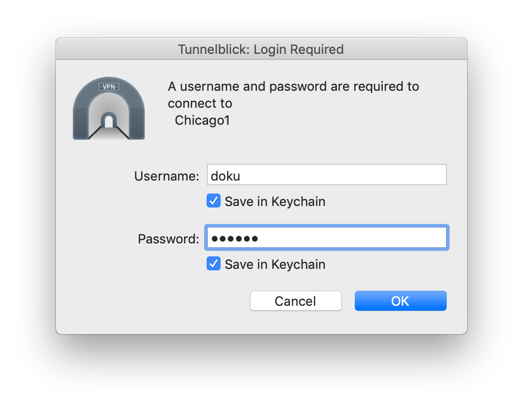 tunnelblick username and password