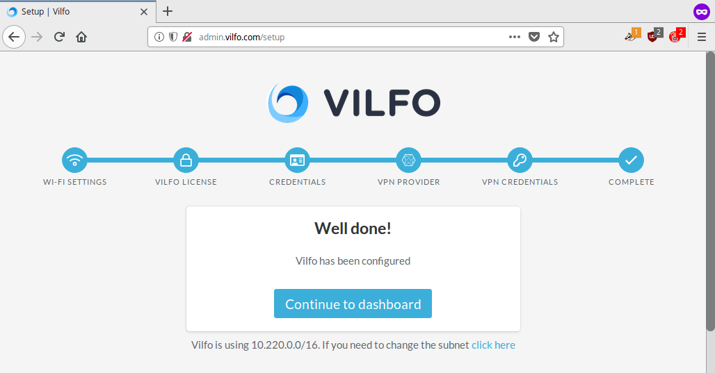 Vilfo-Router: Konfiguration abgeschlossen. <strong>Continue to Dashboard</strong> anklicken | Perfect Privacy VPN für Vilfo Router