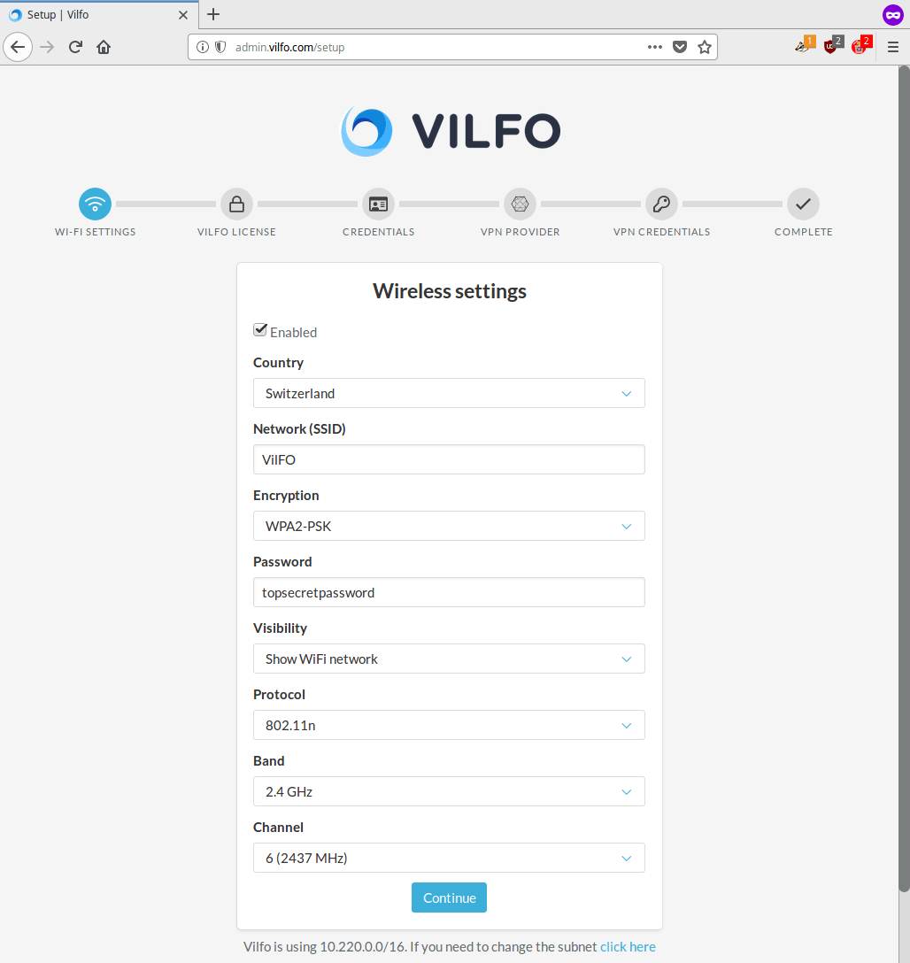 Vilfo router - Wi-Fi Settings: Configure your wireless settings | Perfect Privacy VPN for Vilfo Routers