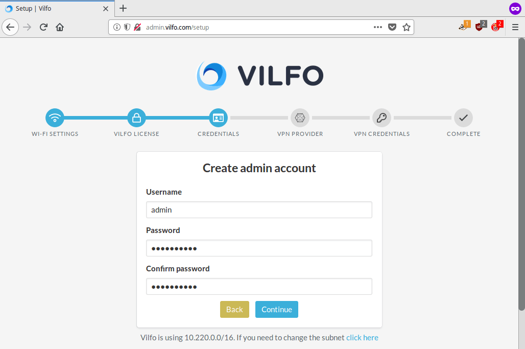 Vilfo router - Credentials: Create an Admin account | Perfect Privacy VPN for Vilfo Routers