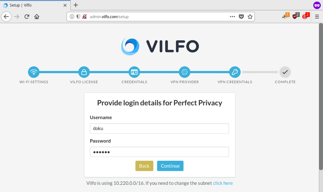 Vilfo router - VPN Credentials: Enter Perfect Privacy VPN login credentials | Perfect Privacy VPN for Vilfo Routers