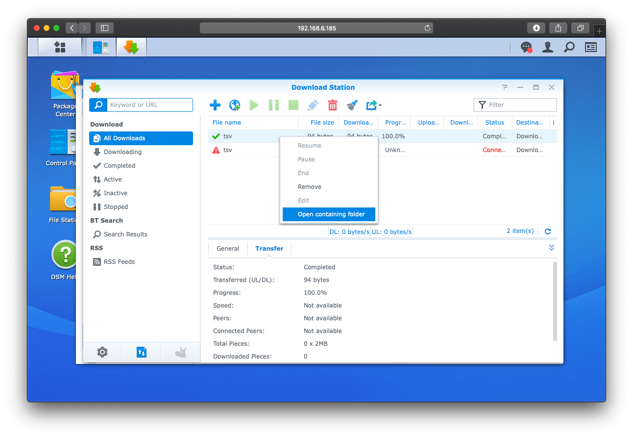 Download Station: Open containing folder | Setting up OpenVPN on Synology DiskStation