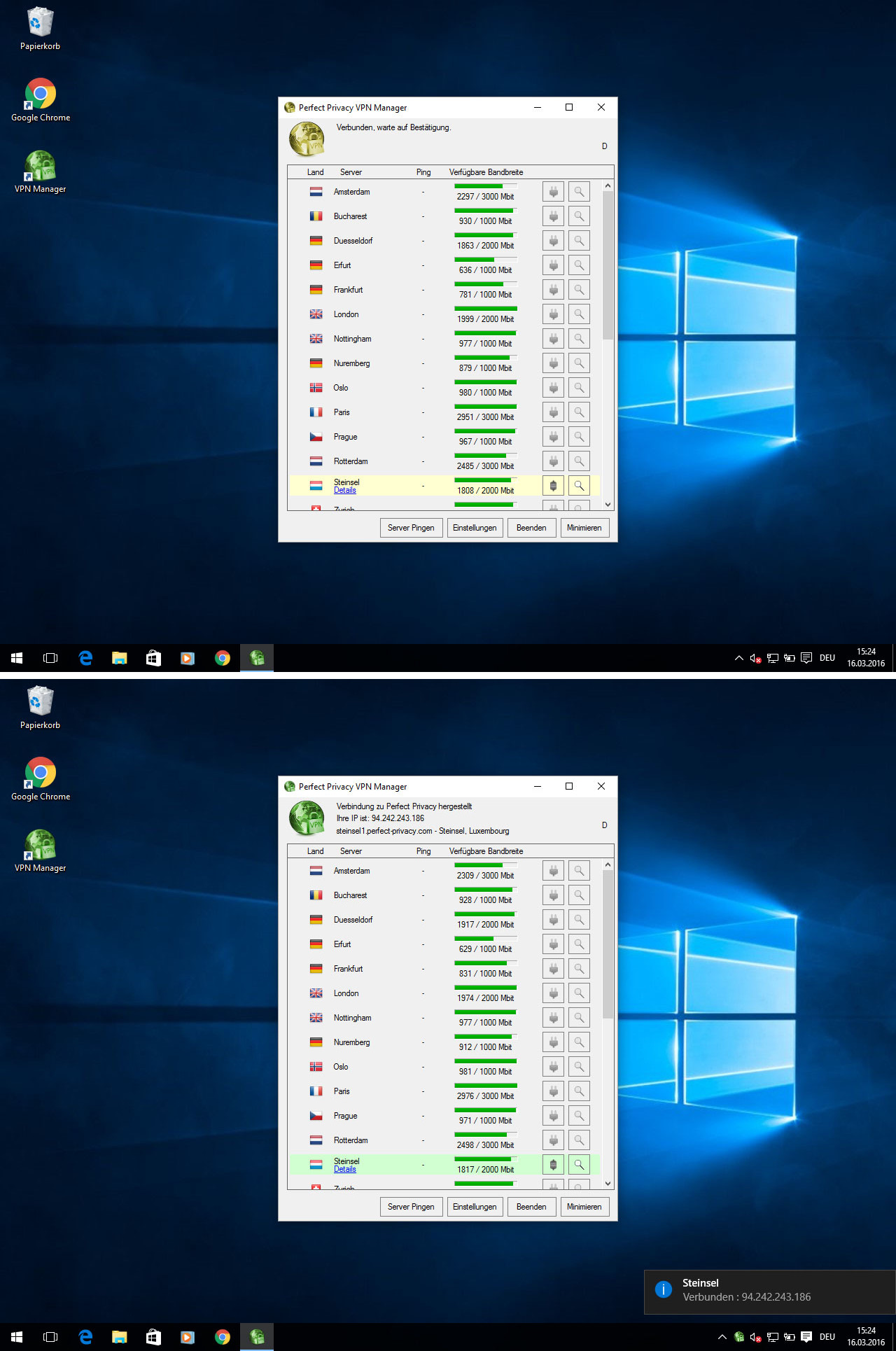 Screenshot Perfect Privacy VPN Manager: Verbindungsaufbau | Perfect Privacy VPN Manager Installation (Windows 10)