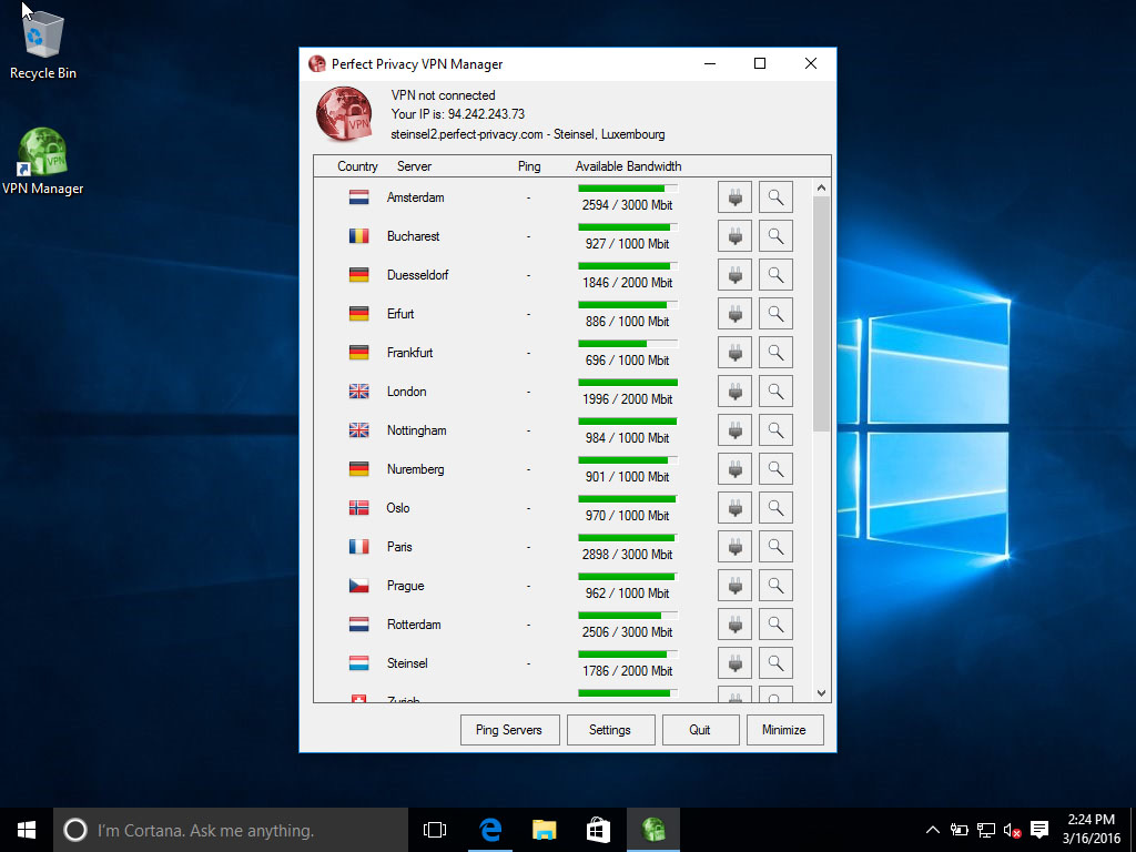 Screenshot Perfect Privacy VPN Manager: Not connected | Perfect Privacy VPN Manager Installation (Windows 10)