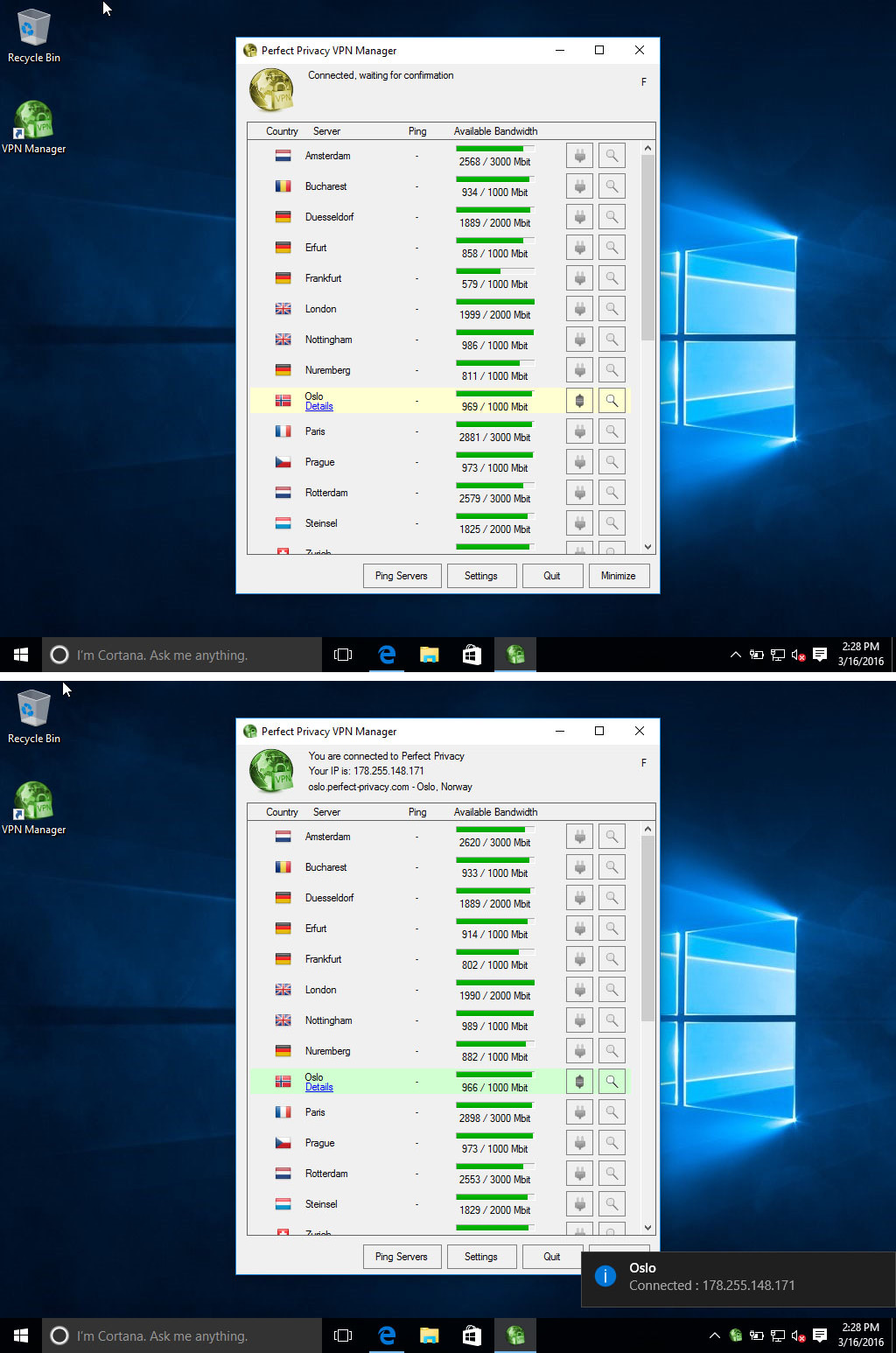 Screenshot Perfect Privacy VPN Manager: Waiting for connection. | Perfect Privacy VPN Manager Installation (Windows 10)