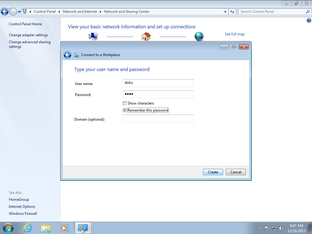 Screenshot Windows 7 Network and Sharing Center connection dialog Enter Perfect Privacy credentials | Configuring IPsec/IKEv2 in Windows 7