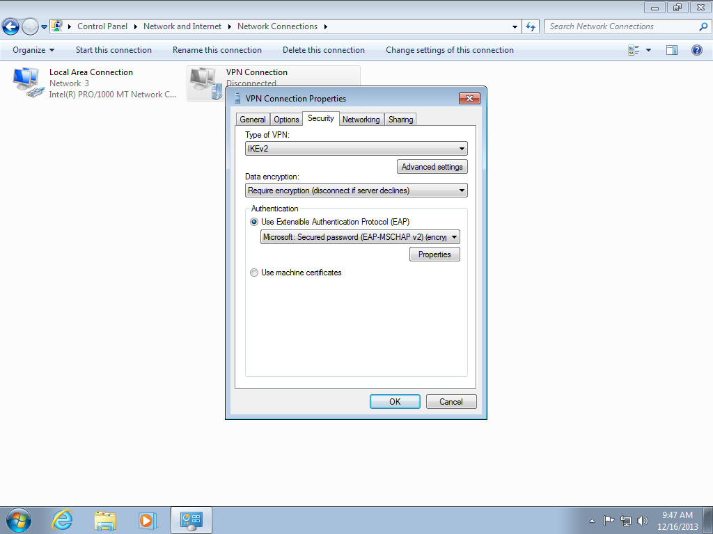 Screenshot Windows 7 VPN Connection properties Type IKEv2 | Configuring IPsec/IKEv2 in Windows 7