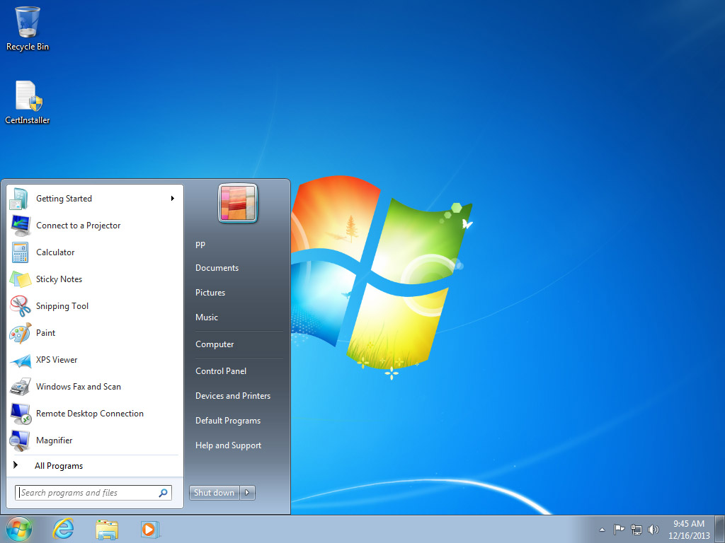 Screenshot Windows 7 Start Menu | Configuring IPsec/IKEv2 in Windows 7