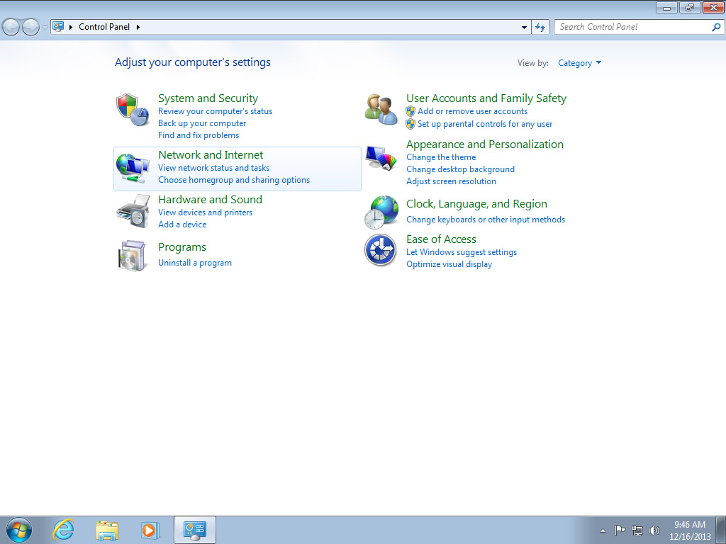 Screenshot Windows 7 control panel choose network and internet | Configuring IPsec/IKEv2 in Windows 7