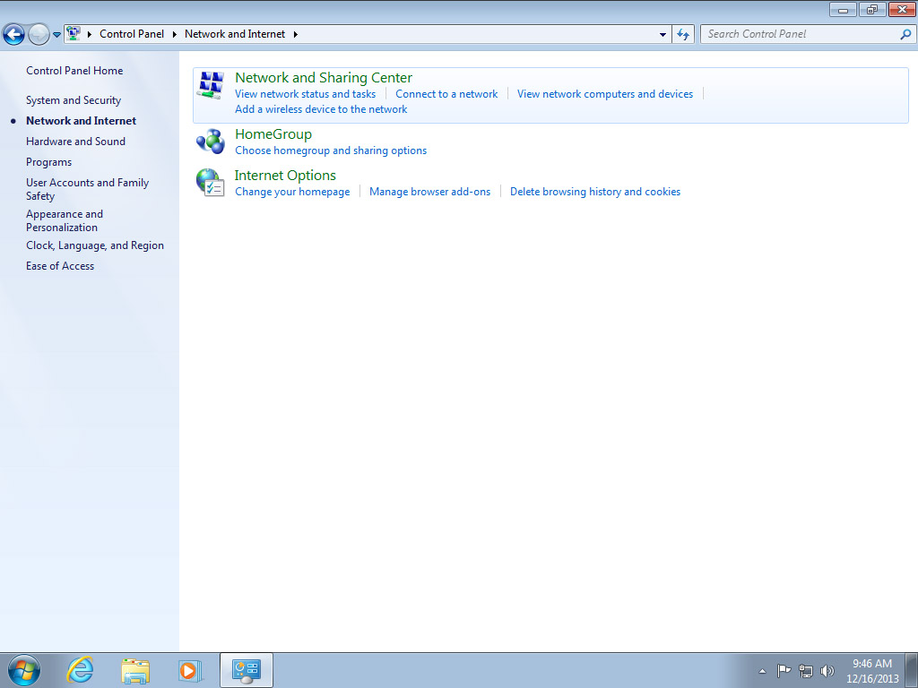 Screenshot Windows 7 network and internet choose network and sharing center | Configuring IPsec/IKEv2 in Windows 7