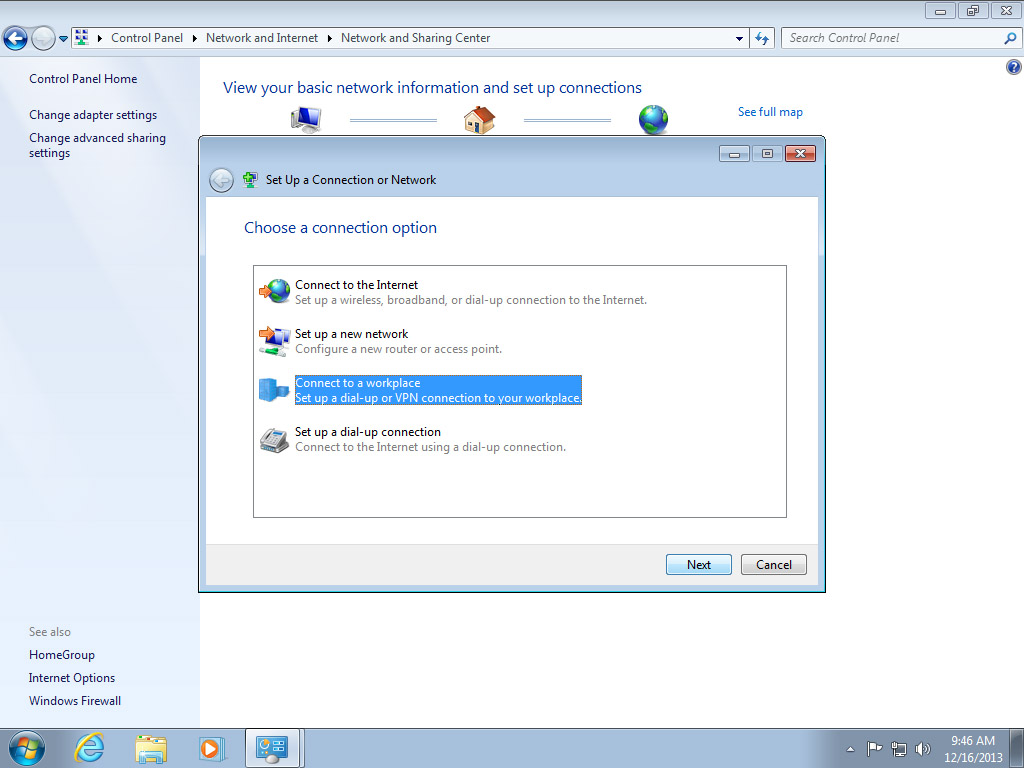 A Place To Call Home Setting Dial Up Internet Connection Setup In Windows 7 Screenshot Windows 7 Network And Sharing Center Connection Dialog Choose  Connect To A Workplace | Configuring