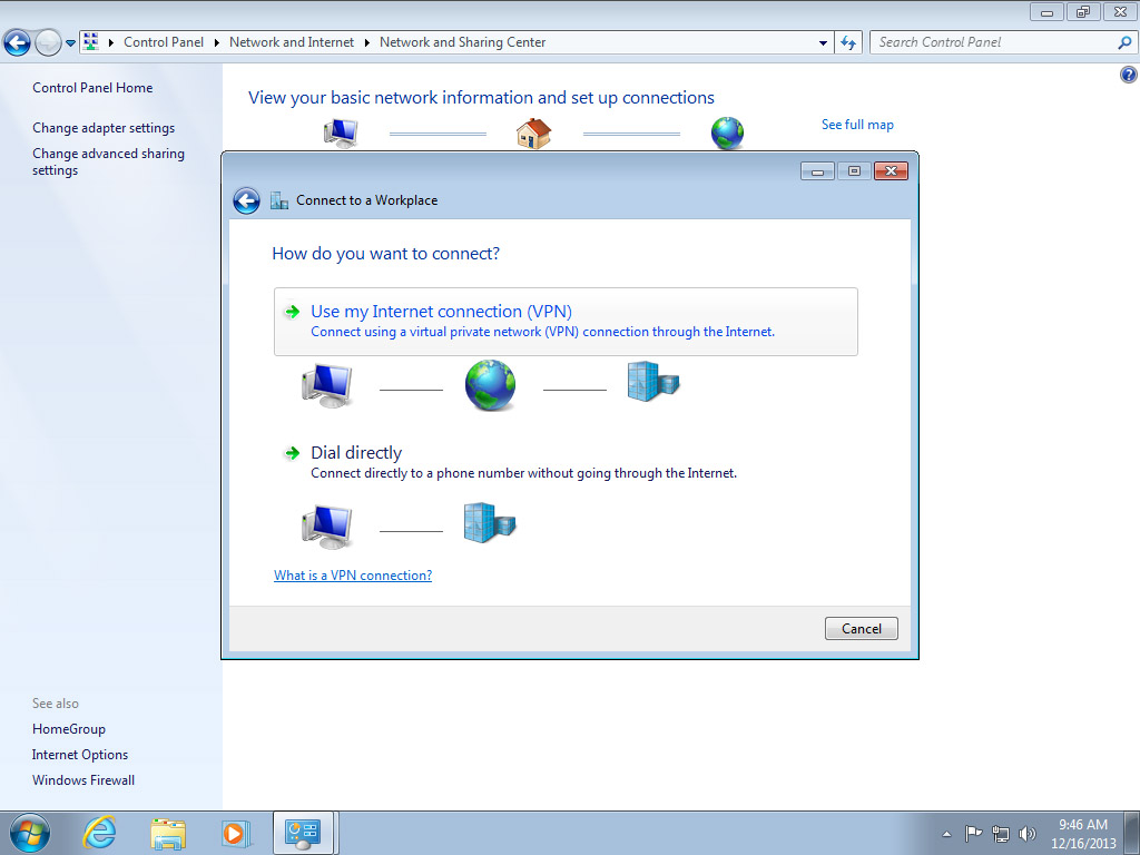 Screenshot Windows 7 Network and Sharing Center connection dialog choose Use my Internet connection | Configuring IPsec/IKEv2 in Windows 7