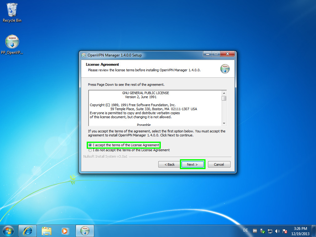 Perfect Privacy VPN Manager Installation (Windows 7