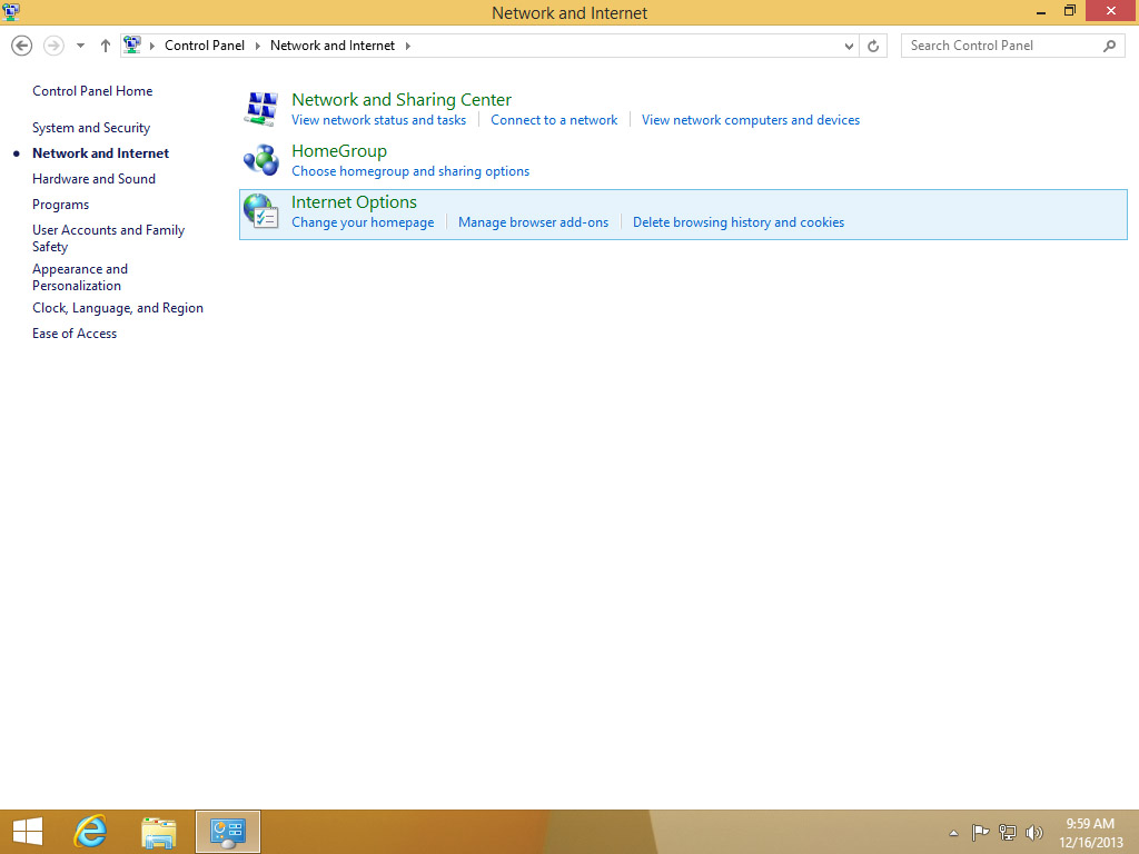 Screenshot Windows 8 Network and Internet choose Internet Options | HTTP proxy configuration on Windows 8