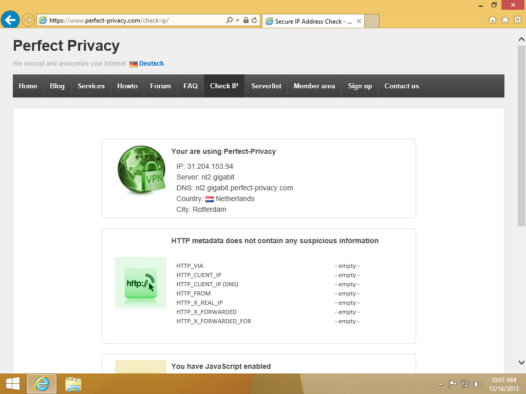 Screenshot Windows 8 Internet Explorer Perfect Privacy Check IP website | HTTP proxy configuration on Windows 8