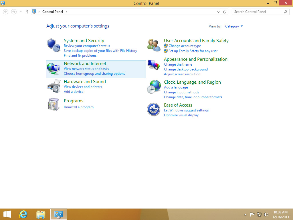 Screenshot Windows 8 Start Menu Control Panel choose Network and Internet | Configuring IPsec/IKEv2 in Windows 8