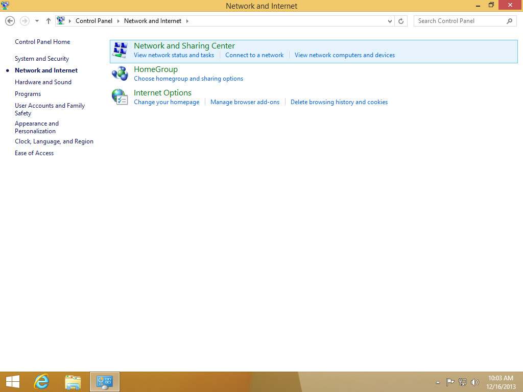 Screenshot Windows 8 Start Menu Control Panel choose Network and Sharing Center | Configuring IPsec/IKEv2 in Windows 8