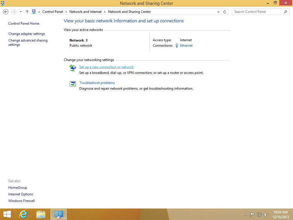 Screenshot Windows 8 Network and Sharing Center choose Set up a new connection or network | Configuring IPsec/IKEv2 in Windows 8